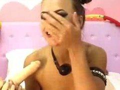 Skinny Brunette Deepthroat Dildo & Fist