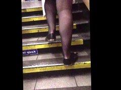 Office miniskirt sheer tights candid