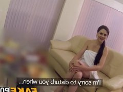 Amazing brunette babe rides cops big dick for fun