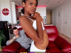 Blow Me POV - Petite Ebony Babe Makes Sloppy Interracial BJ