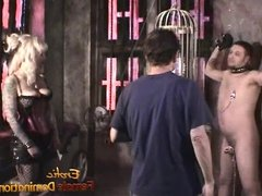 Two pornstars and a lucky guy make a porno in the dungeon