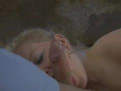 Big Tits Blonde Rubbing Cock Between her Titties