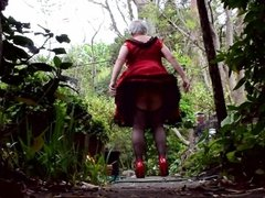Sissy Ray in Red Sissy Dress outdoors again