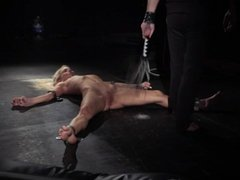 Sexual slave Nesty rough suspended in bdsm is painfully waxed