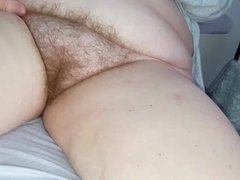 nightie up over her big tits, hairy bush & soft belly
