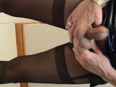 Hard Cock in Skirt and Pantyhose 4