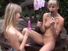 Lesbian ass cream Two ash-blonde young