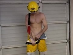 American firefighter showing off