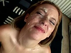 Teen gets her face obliterated with cum