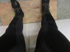 Leaning back on my metal heels  rubbing myself
