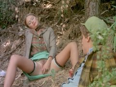 vintage lesbians outdoor pussy play and threesome