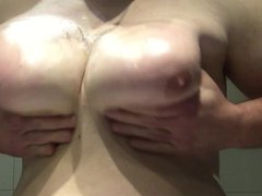 Fat sissy squeezing and piling her tits