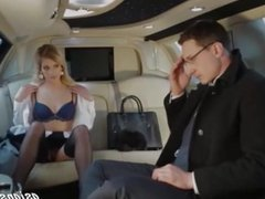 Sexy Blonde Fucking The Ambassador In His Limo