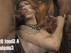 Redhead jerks two guys off on her face