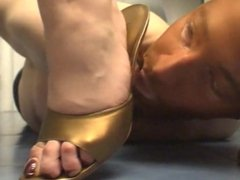 High heel slave tease