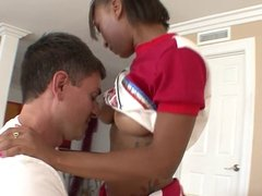 Ebony cheerleader gets fucked and creamed by older stud