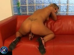 Sex starved Camille seductively playing with her fave dildo