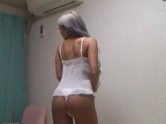 Hiddencam Japanese teen MIRANO wearing lingerie