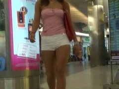 Incredible girl shopping in tight short shorts