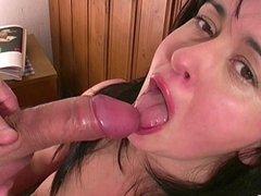 Submissive girlfriend swallows cum in a thong & high heels