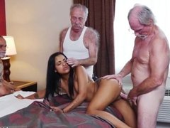 Old woman swallow cum and old guy fingering