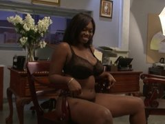 Big boobs ebony has her pussy swallow a goliath pecker