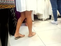 candid, Gf's hot legs,feets & toes at shopping