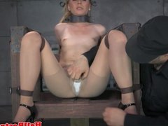 Collared sub dildofucked while restrained