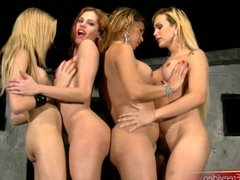 Teen shemales with braces get wild at foursome disco party