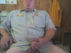 Security Guard Jerks Off & Cums at Work