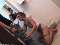 Blonde babe fucked in a public bathroom