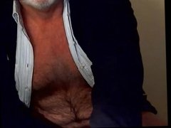 Hairy grandpa unloads his hairy uncut cock