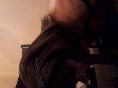 Nipple play and sacking a dildo