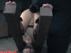Restrained submissives punished by maledoms
