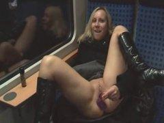 Amateur wife masturbates on public train and gets a facial