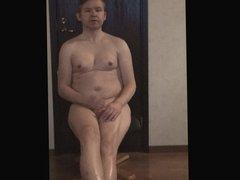 Naked faggot gay guy jerking