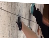 Candid Shoeplay In Nylons at Airport Dipping Feet