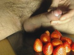 Cum on Food - Strawberry and Cum