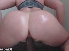 Big butt dominatetion a black dildo