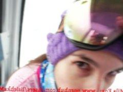 Public Anal sex in ski lift. Ass creampie!