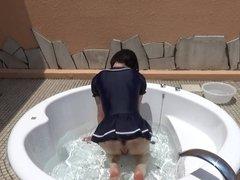 crossdresser in one piece skirt in the bath