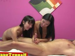 Oriental masseuse tugging in asian threesome