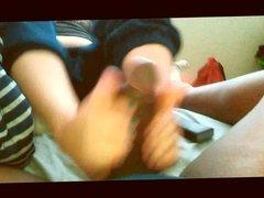 K The Footjob Natural Cotton Blue Toes