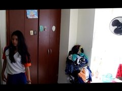 Cute teen latina changing in her room caught by hidden