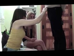 two hot girls spitting on losers dick