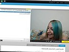 Hot girl watches big dick cum on webcam -