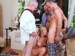 Massage parlor blowjob swallow and blonde