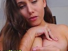 Pretty Babe With Milky Tits Fucked Herself