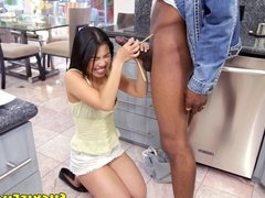 Shy japanese babe bent over in the kitchen