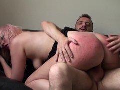 Choked UK slut throated with dildo